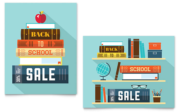 Back To School Books Sale Poster Example  For Sale Poster Template