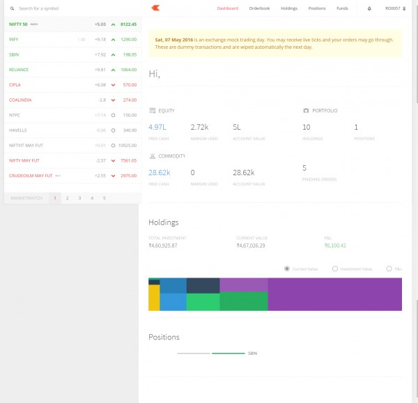 zerodha kite web 2.0