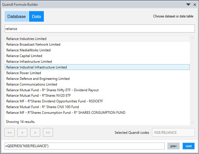 Import Quandl Data In Excel 2