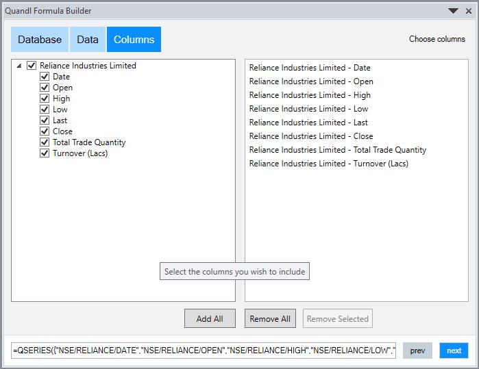 Import Quandl Data In Excel 3