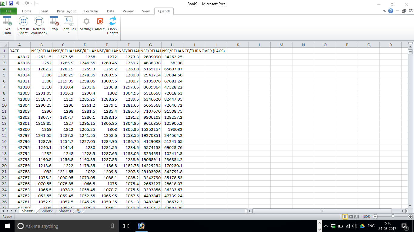 create excel stock research system using quandl stock data
