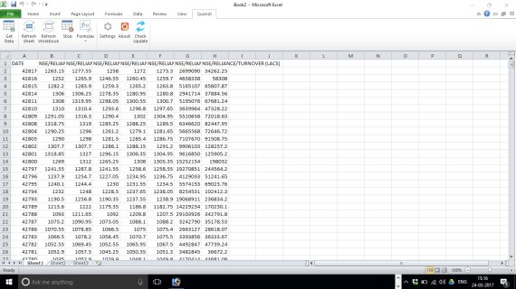 Import Quandl Data In Excel 5
