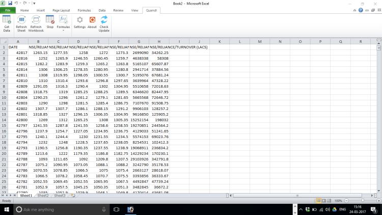 Import Quandl Data In Excel 5