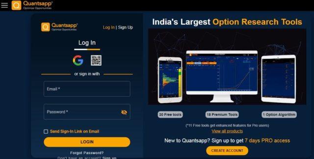 quantsapp web, options trading software
