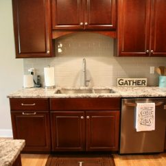 24 Inch Kitchen Sink Backsplash Ideas On A Budget Design – Dark Cherry Cabinets And Black Stainless ...