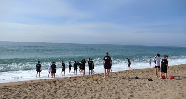 Football Tour to Barcelona - players on the beach