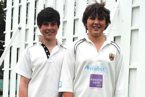 Cricket centurians Oliver and Mark