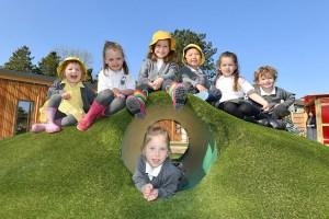 Nursery pupils on the hill