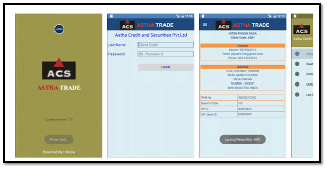 Astha Trade Back Office Mobile App Screenshot