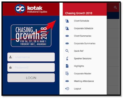 Kotak Events App Login Screen