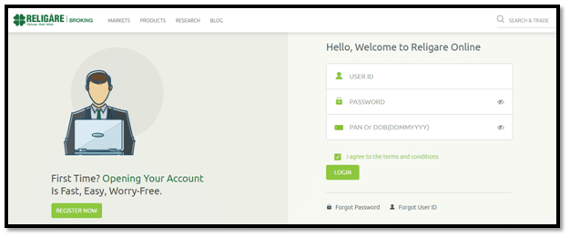 Religare Online Web Trading Login