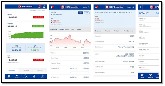 HDFC Securities Mobile Trading App Interface