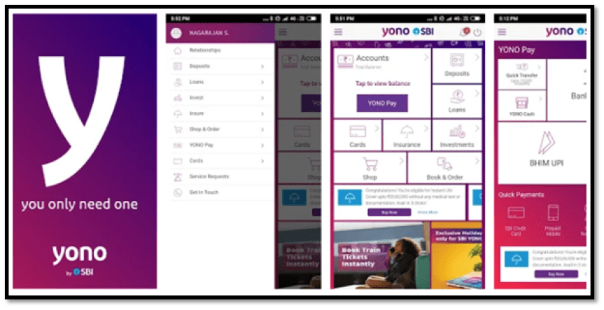 SBI YONO App Interface