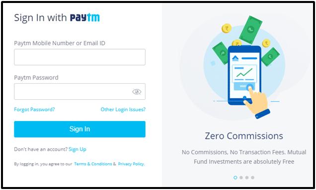 Paytm Money App Login Screen