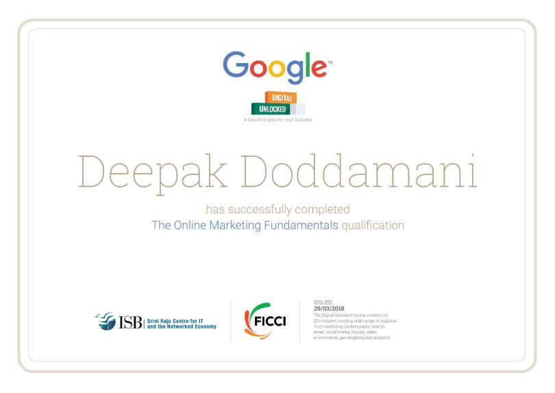 Google's Digital Marketing Certificate of Deepak Doddamani