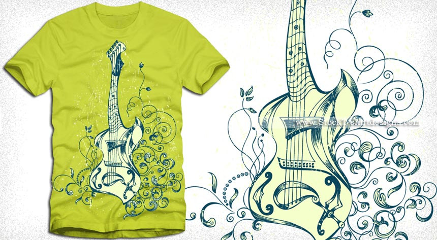 Acoustic guitar with floral t shirt design vector vector for Stock t shirt designs