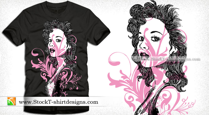 Vector T Shirt Design With Beautiful Girl Stockt
