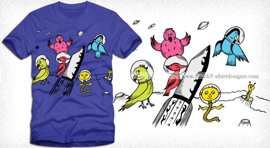 bf74fc38d Cute Cartoon Birds in the Space Vector T-shirt Design | Vector T-shirt  Designs