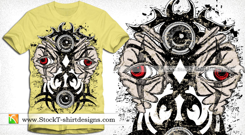 Bird Toy Outlet : Vector t shirt design with demon tattoo face stockt