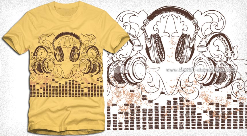 Headphone with floral vector t shirt design vector t Music shirt design ideas