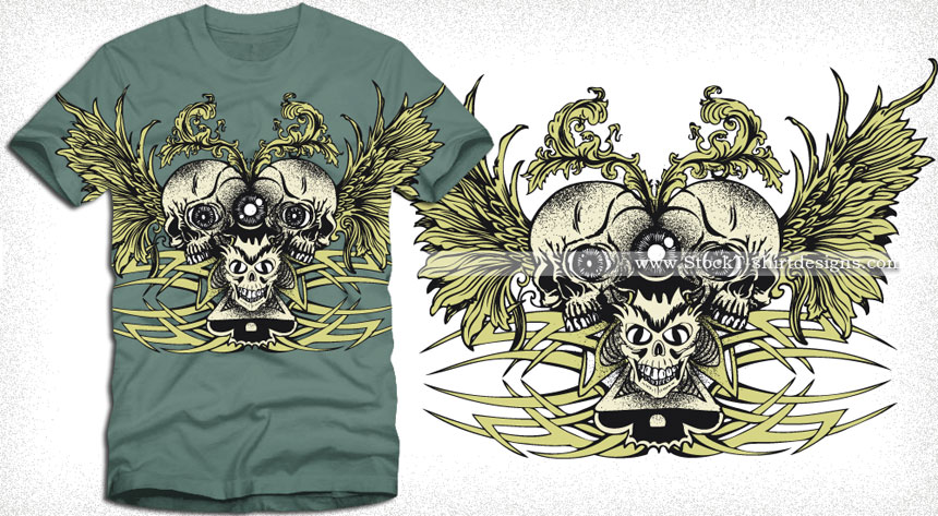 79f33a99 Skull with Wings and Celtic Tattoo Design T-shirt Vector | Vector T ...