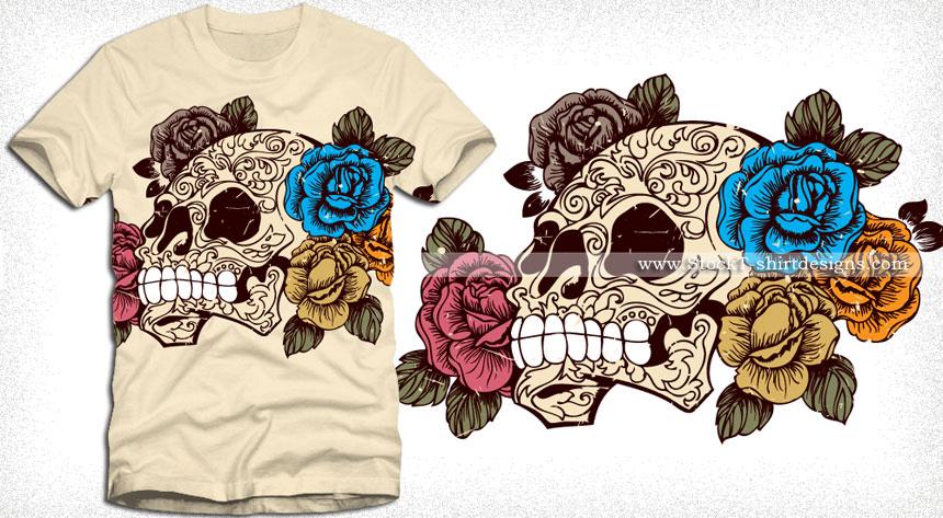 Sugar Skull With Roses T Shirt Design Vector Vector T