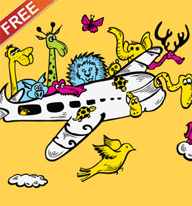 Cartoon Animals Riding Airplane with Free Vector Art T-shirt Design