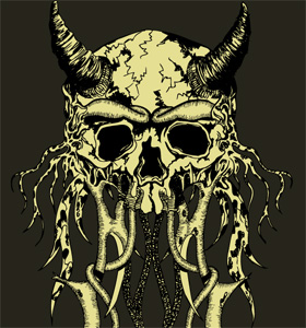 Vector Tee Graphic Design with Demon Skull