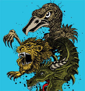 Vector Tee Design with  Dragon, Lion and Eagle Head
