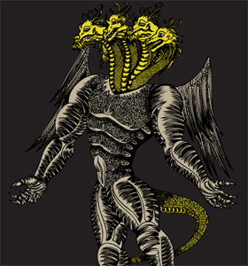 Vector T-shirt Design with Demon Dragon
