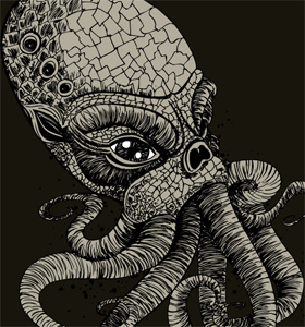 Vector T-shirt Design with Demon Octopus