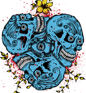 Vector Skull with Flowers T-shirt Design