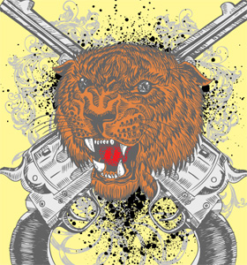Tiger Head and Crossed Guns Vector Art T-Shirt Design