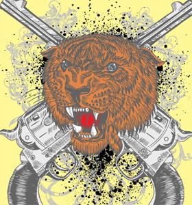Tiger Head and Crossed Guns Vector Art T-Shirt Design