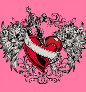 Vector Winged Heart with, Sword and Ribbon T-shirt Design
