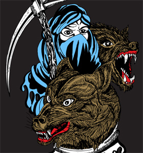 Woman with Axe and Wolf Vector T-shirt Illustration Design