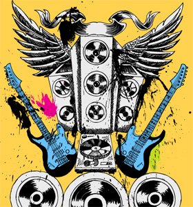 Vector T-shirt Illustration for Musical Theme with Speakers, Guitar and Wings