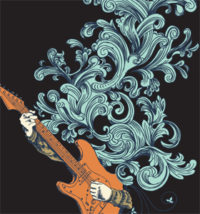 Hands Playing Guitar Vector T-shirt Graphic Design