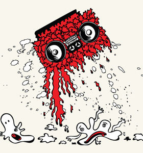 Music T-shirt Graphics Vector with Cassette and Cartoon Bubbles