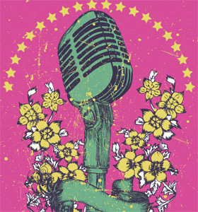 Vintage Music Vector T-shirt Design with Microphone and Flowers