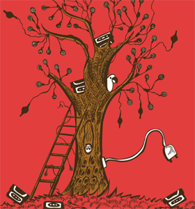 Music Tree with Bird Vector Tee Design Illustration