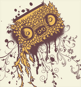Cassette Tape Vector T-shirt Design with Spray Paint and Floral Swirls