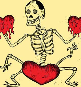 Dancing Skeleton with Heart T-Shirt Design Vector Art