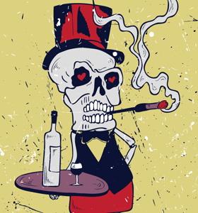 Halloween Skeleton Bar Server Vector T-shirt Design