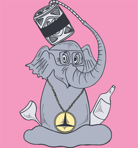 Cartoon Elephant Drinking Juice from a Straw T-shirt Design