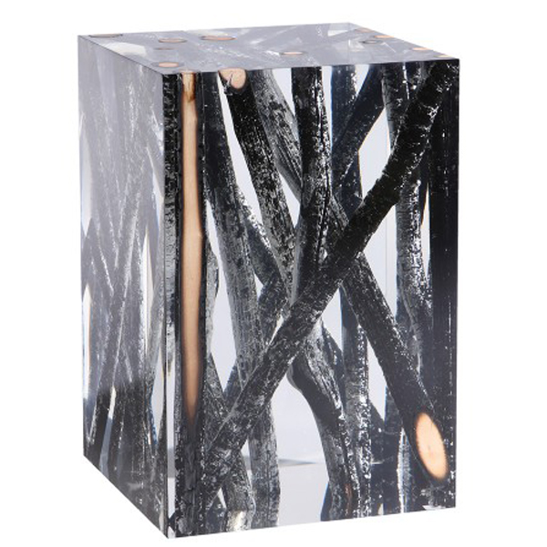 Timothy Oulton Spur Side Table Acrylic Burnt Wood Branches