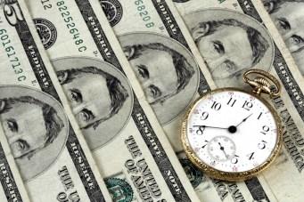 Pocket Watch And Five Dollar Bills