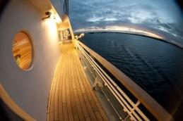 Open deck at sea cruise ship