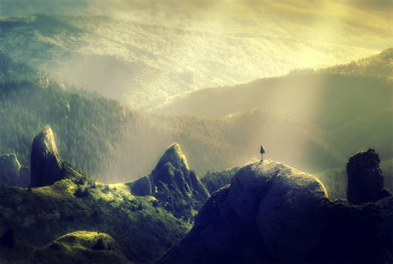 Rust Girl Wallpaper Woman Alone At The Top Of The Mountain Free Stock Photo