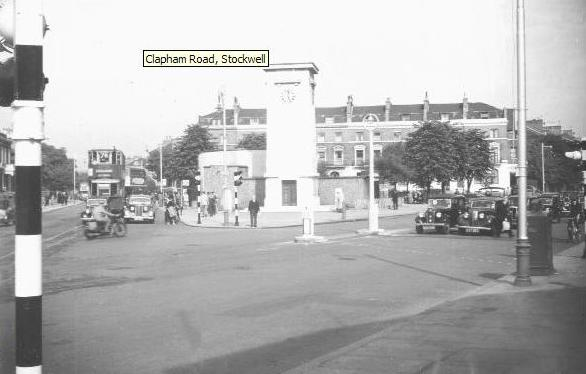 Stockwell clock tower island in c1950